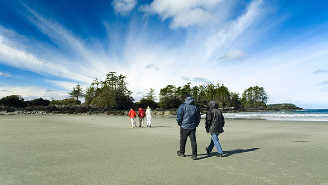 Walking a Tofino beach at low tide