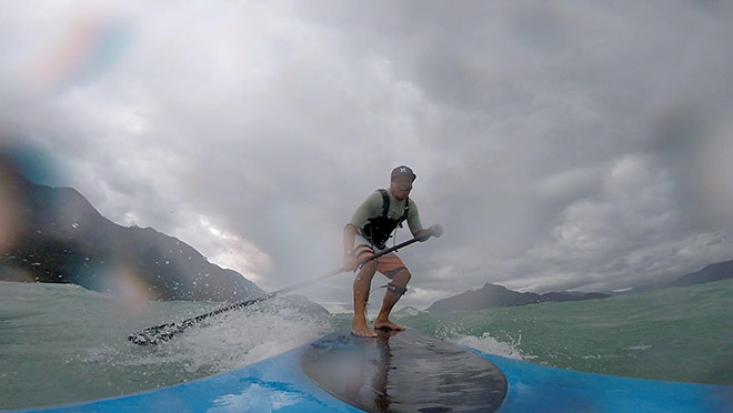 Furry Creek's Greg McMillan hopped aboard his stand-up paddleboard to brave the August 29, 2015 windstorm, and reached speeds of up to 25 kilometres per hour on the board.