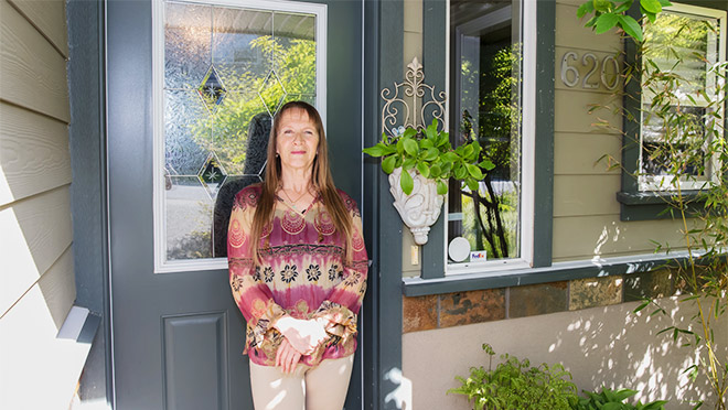 Disa Hovatta at the front door of her Langford, B.C. home