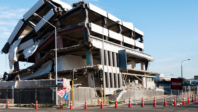 Earthquake damage in Christchurch, N.Z.