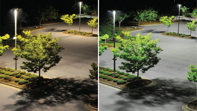 Before and after differences of the installation of LED streetlights