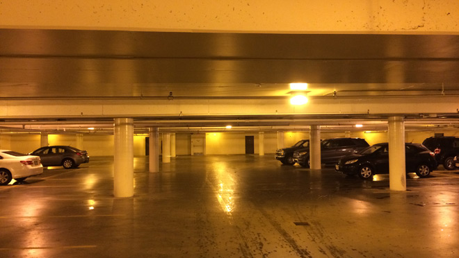 Before the upgrade, the parkade at Mayfair Shopping Centre was lit with older-style high pressure sodium lighting.