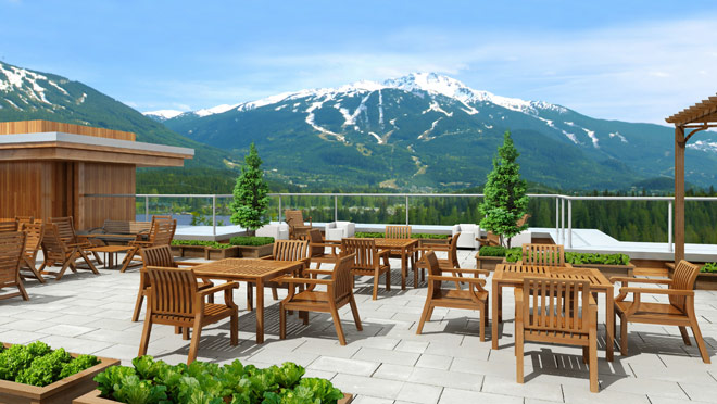Image of rendering of the rooftop of Solana, Whistler, B.C.
