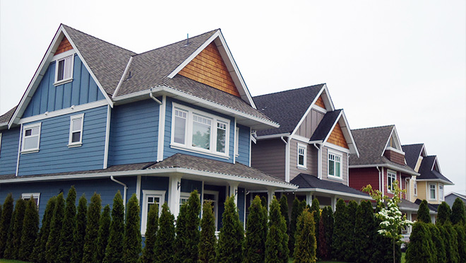 Close up of new homes in suburban Vancouver, B.C.