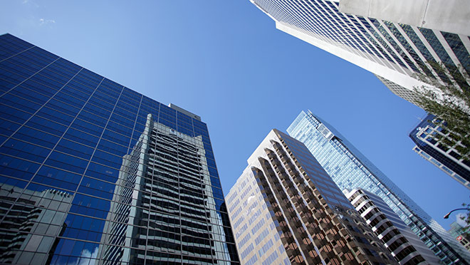 Image of office towers in downtown Vancouver