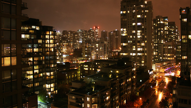 Image of Vancouver Yaletown at night