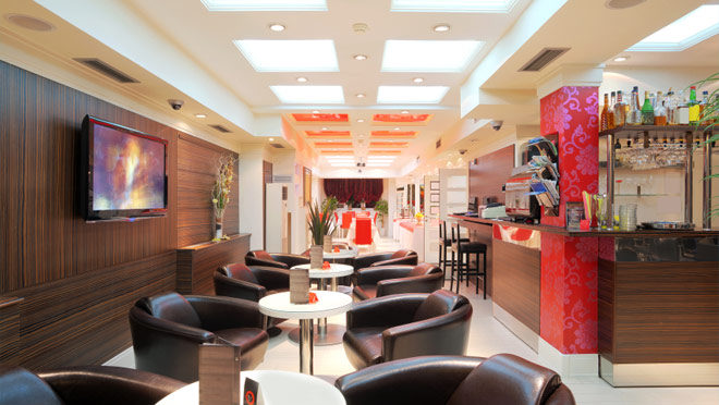 Image of brightly lit modern restaurant interior