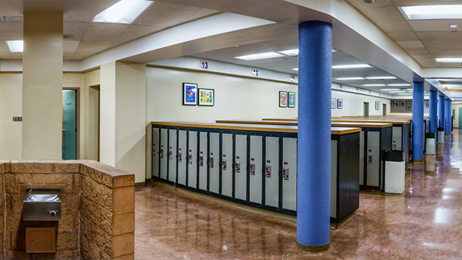 Image of a Citadel Middle School hallway and lockers