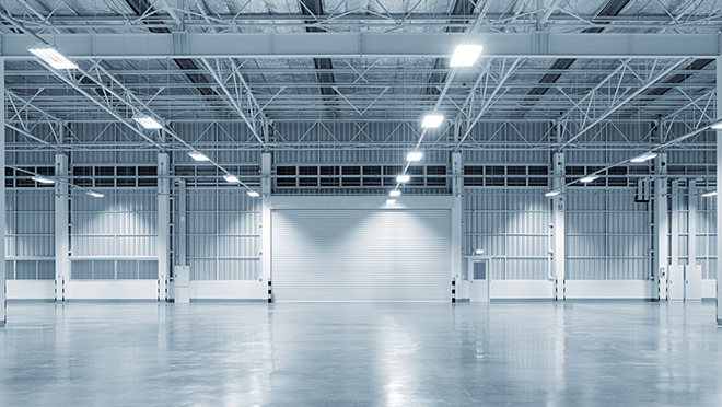 Image of a brightly-lit warehouse