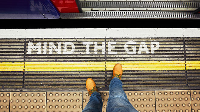 "Image of London Metro ""Mind the gap"" message"