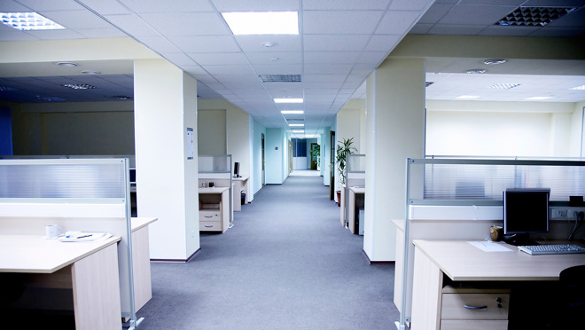 Image of empty office cubicles