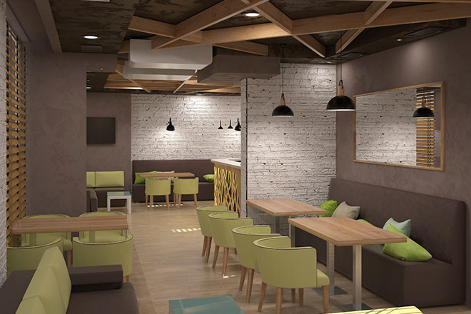 Image of 3D rendering of restaurant lighting