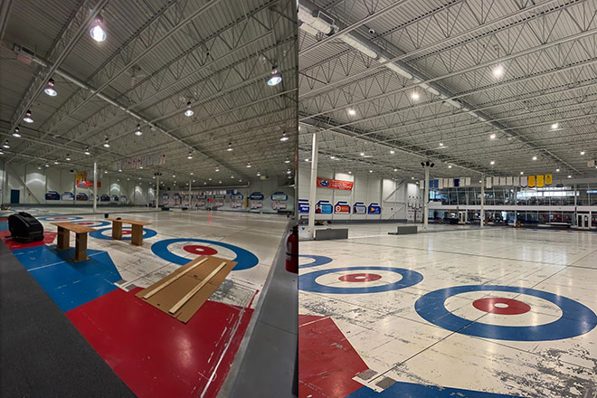 Image showing the Richmond Curling Club before and after a lighting upgrade