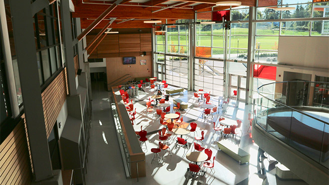 Interior photo of a large workspace inside the Salish Secondary School