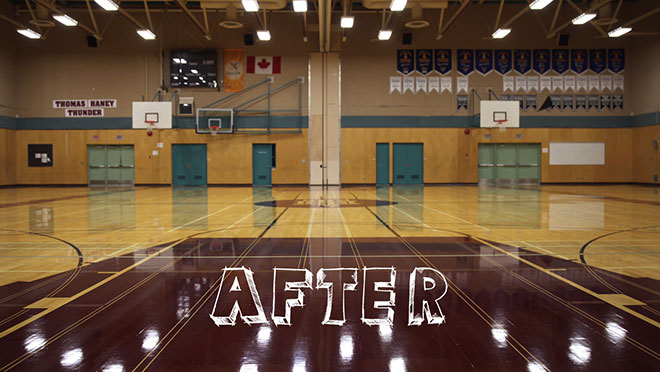 Image of Thomas Haney Secondary School gymnasium after de-lamping