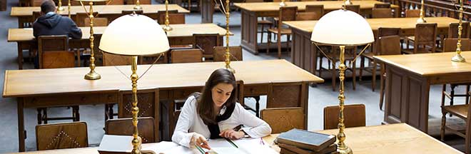 Student studying in university library