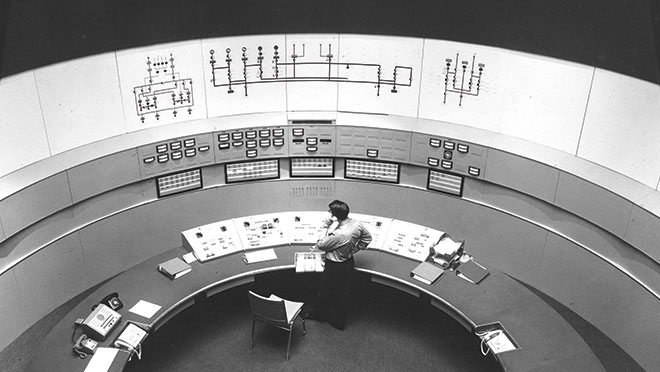 Image of the WAC Bennett Dam control room