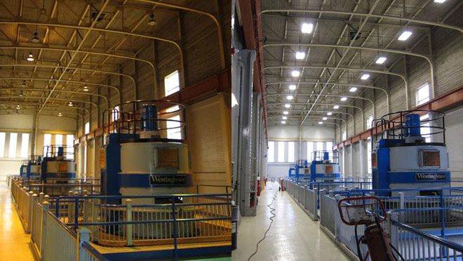 Image of the interior of Bridge River powerhouse, before and after lighting upgrades