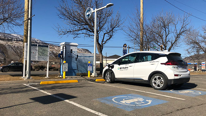 Image of a Chevrolet Bolt charging at BC Hydro charging station in Cache Creek, B.C.