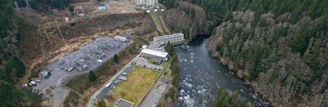 Image of aerial view of John Hart Generating Station
