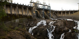 John Hart Dam with waterfalls