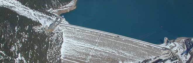 Image of aerial view of Mica Dam in winter