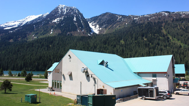 One of the residential buildings at Kinbasket Lodge work camp below Mica dam on Lake Revelstoke