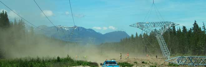 Image of tower being erected on Northwest Transmission Line Project