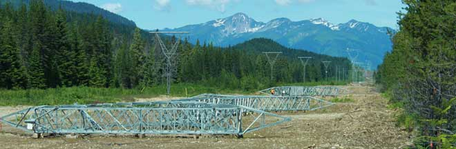 Image of transmission towers ready to be erected