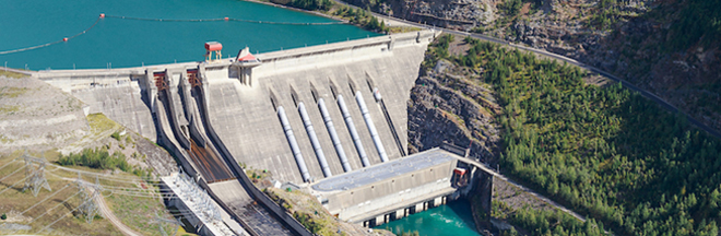 Aerial photo of the Revelstoke Dam