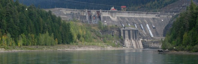 Revelstoke Dam from downstream wide