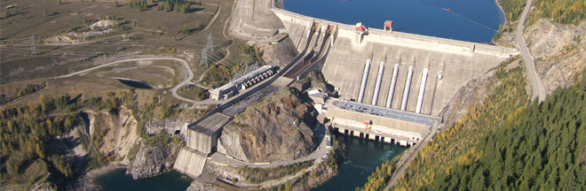 Aerial view of the Revelstoke Dam