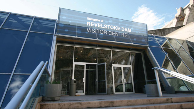 Image of the front entrance of the Revelstoke Dam Visitor Centre