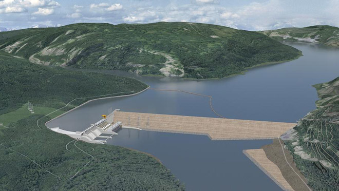 Image of rendering of proposed Site C dam