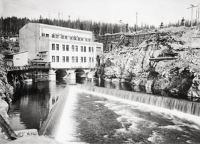 Black and white photo of Stave Falls intake dam