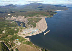 Aerial view of Williston Reservoir