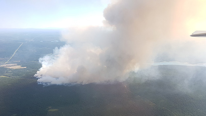 Image showing the aerial view of a July 2017 B.C. interior wildfire