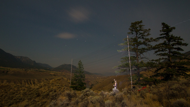 Image of bat netting at night near Lillooet, B.C.