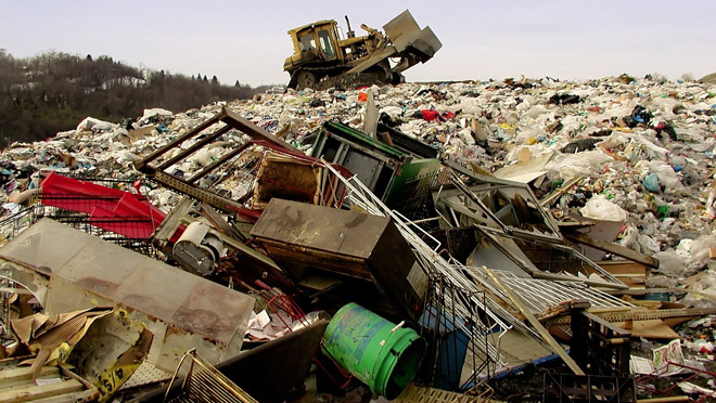 Image of bulldozer in a landfill