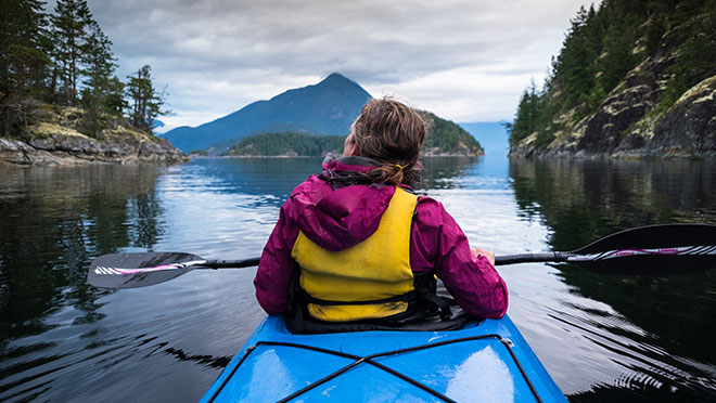 Kayaker in Desolation Sound