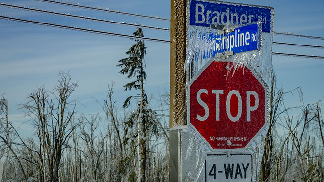 Abbotsford road signs encased in ice
