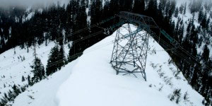The Interior to Lower Mainland (ILM) Transmission Project passing through rugged terrain