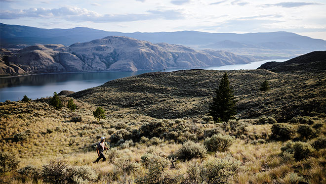View over Lac Du Bois grasslands and Kamloops Lake.