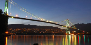 Lions Gate bridge lit up at night with leds