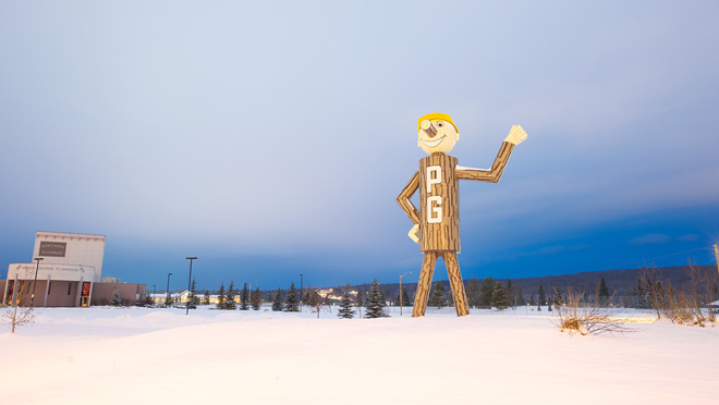 8-metre high Mr. PG stands at junction of two highways at Prince George.