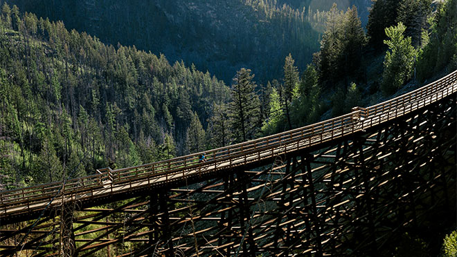 Curved trestle on Kettle Valley Railway's Myra Canyon
