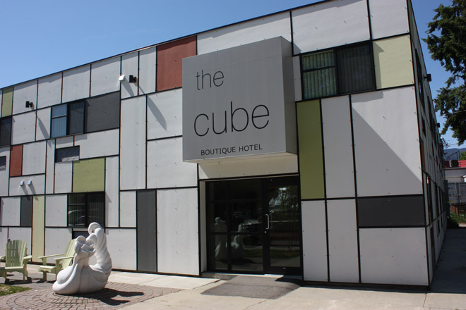 Exterior shot of The Cube boutique hostel in Revelstoke