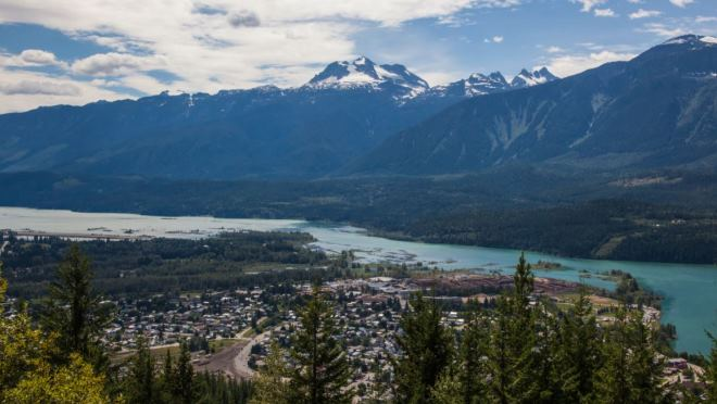 Shot from lookout at Mount Revelstoke National Park over Revelstoke to Mount Begbie
