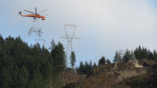 Helicopter with transmission tower