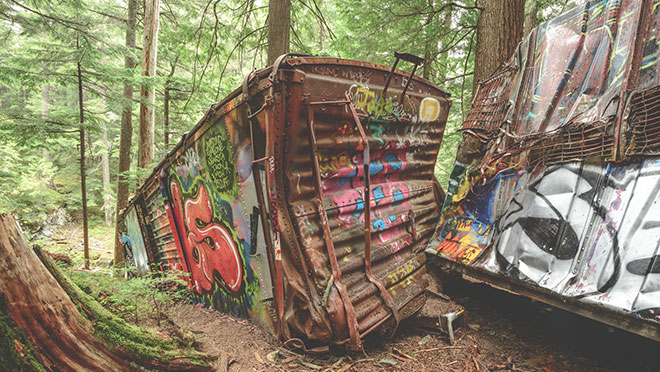 graffitied boxcars, train wreck trail, Whistler